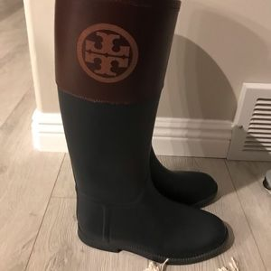 Tory Burch blue and brown rain boots, 8